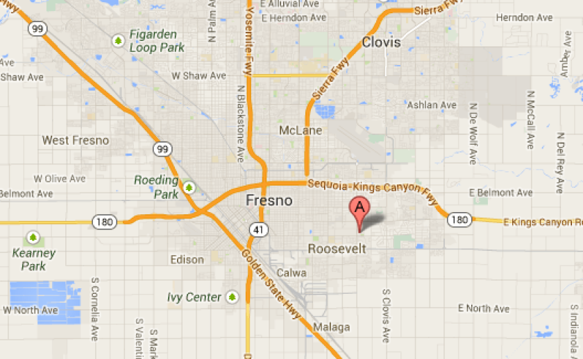 Map shows location where three officers were injured and a suspect was killed Tuesday in Fresno.