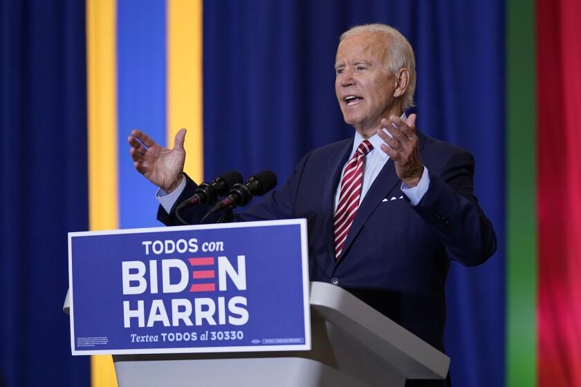 Joe Biden speaks Tuesday in Kissimmee, Fla.