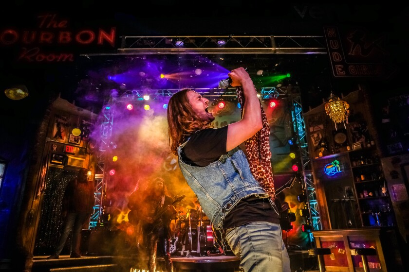 "Rory Gilbert stars as Drew in ""Rock of Ages"" at Cygnet Theatre in Old Town."