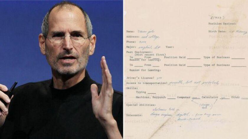 El cuestionario completado por Jobs a mano unos tres años antes de que creara la empresa que lo convirtió en multimillonario está plagado de errores de ortografía.