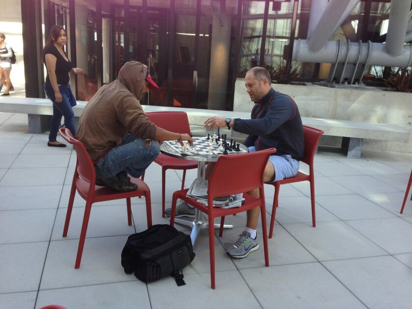 """""""What's your next move?"""" at this chess game on the ninth floor dome terrace of the new Central Library."""