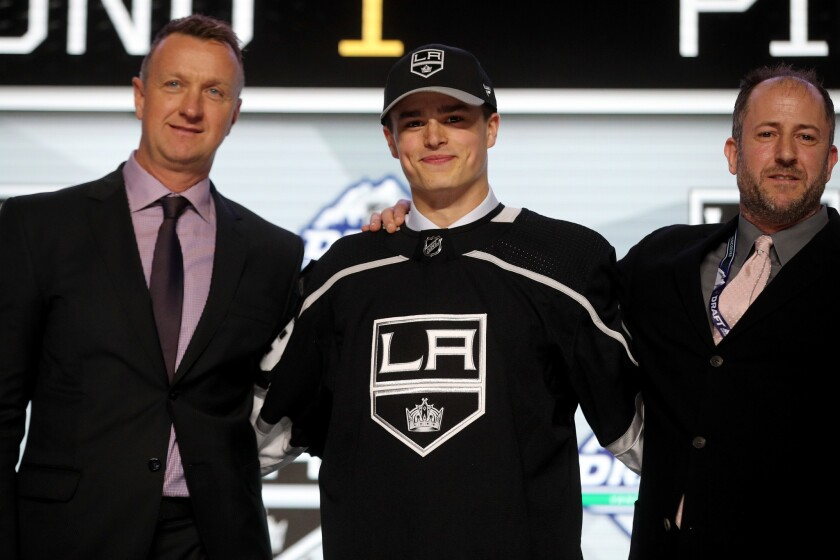 The Kings drafted Alex Turcotte with the fifth overall pick of the 2019 NHL draft.