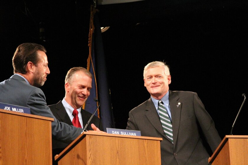 Alaska Republican U.S. Senate candidates Joe Miller left, Dan Sullivan, middle, and Mead Teadwell greet before a live televised debate Sunday, Aug. 10, 2014, in Anchorage, Alaska. Thousands of miles from the U.S-Mexico border, the major Republican candidates for U.S. Senate in Alaska clashed on immigration in a televised debate. (AP Photo/Mark Thiessen)