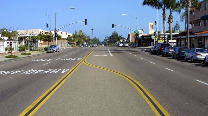 This is what Bird's Rock's stretch of La Jolla Boulevard looked like before roundabouts were built.