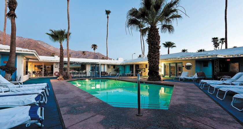 All 10 rooms at the mid-century Palm Springs Rendezvous face the swimming pool.