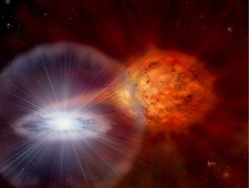This artist's concept of a nova shows a stream of matter being pulled from the donor star, right, to the compact white dwarf on the left.