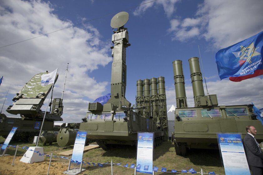 FILE - In this file photo taken on Tuesday, Aug.  27, 2013 a Russian air defense missile system Antey 2500, or S-300 VM, is on display at the opening of the MAKS Air Show in Zhukovsky outside Moscow. Russia has supplied similar systems to Syria. The Kremlin says Russia has lifted its ban on the del