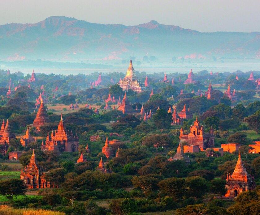 Dawn over ancient temples from hot air balloon, Bagan (Pagan), Central Myanmar, Myanmar (Burma), Asia