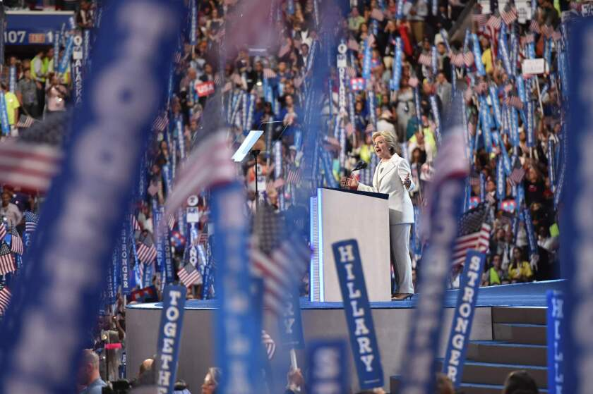 Democratic presidential nominee Hillary Clinton speaks on stage during the fourth and final night of the Democratic National Convention.