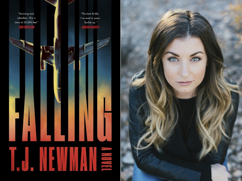 """This combination of photos shows the cover of """"Falling,"""" a novel by T.J. Newman, left, and a portrait of Newman. A former bookseller and flight attendant who conjured fictional nightmares during breaks on cross country red-eyes has a 7-figure deal for two novels. The Simon & Schuster imprint Avid Reader announced Thursday that Newman's first book, the thriller """"Falling,"""" comes out in July. (Avid Reader Press, left, and Melissa Young via AP)"""