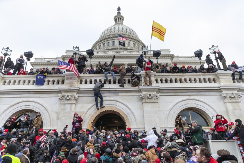 Pro-Trump supporters rioting at the U.S. Capitol on Jan. 6.