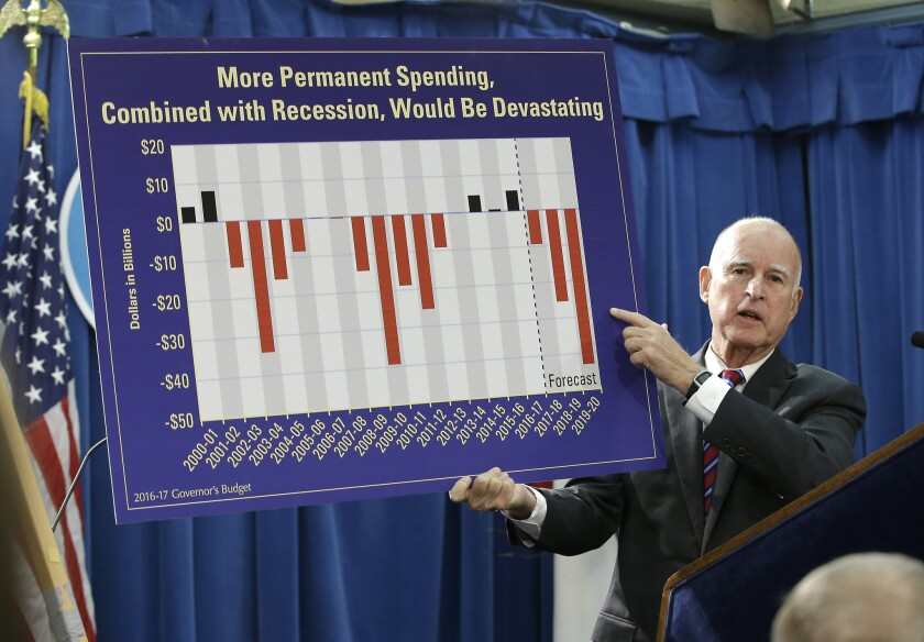 Gov. Jerry Brown gestures to a chart as he discusses his proposed 2016-17 state budget Thursday in Sacramento.