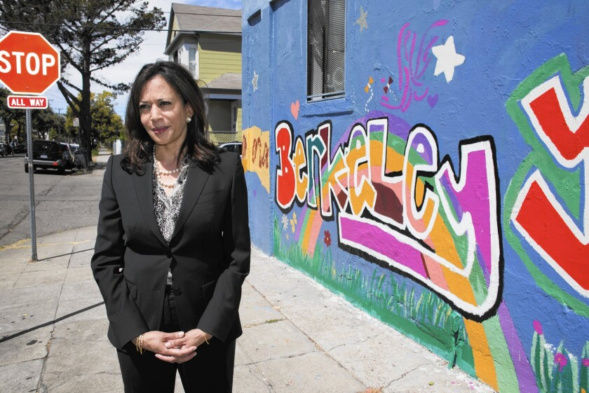 California Atty. Gen. Kamala Harris visits Berkeley, where she grew up. Harris is a top contender for the U.S. Senate seat held by Barbara Boxer, who is retiring.