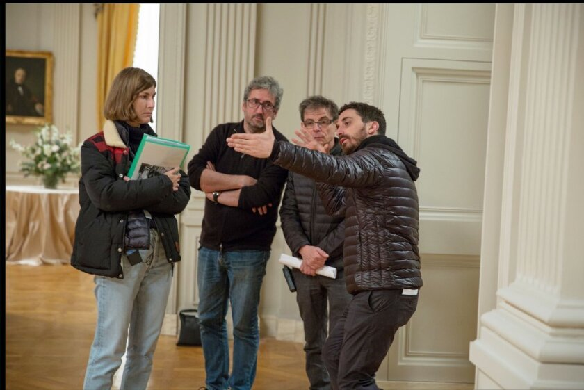 "Production designer Jean Rabasse on the set of ""Jackie."""