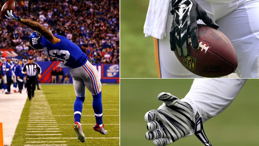 How does Odell Beckham Jr., left, make a one-handed catch? Gloves, like those sported by Rams running back Todd Gurley, top right, and a teammate, bottom right, certainly help.