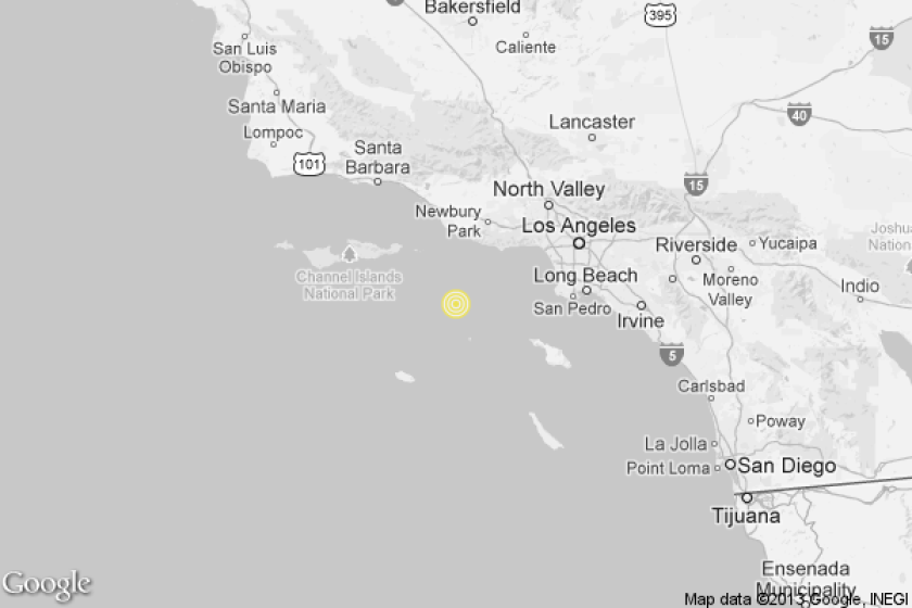A map showing the location of the epicenter of Friday morning's quake near Malibu.