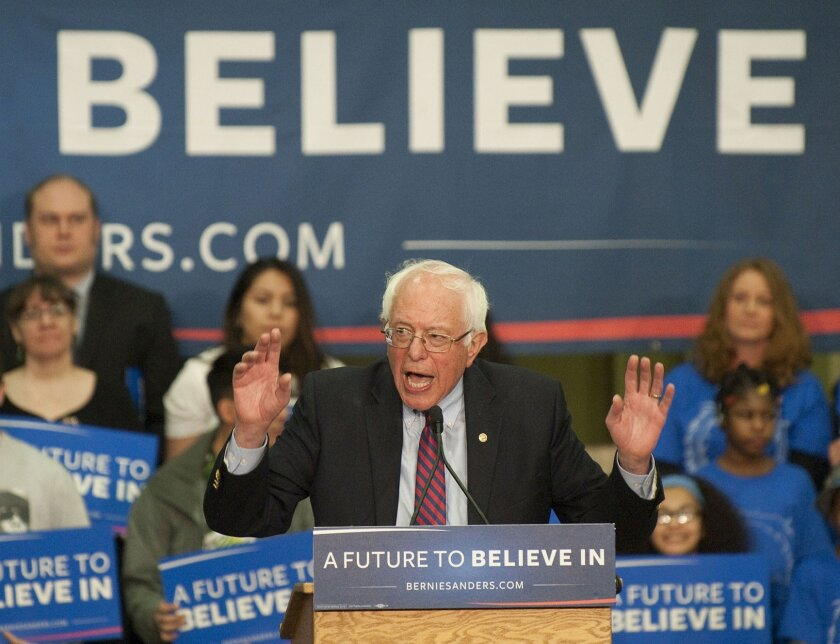 Democratic presidential candidate Bernie Sanders, I-Vt., speaks at Hudson's Bay High School in Vancouver, Wash., Sunday, March 20, 2016. Sanders urged the crowd to vote in next Saturday's Democratic caucuses. (Natalie Behring/The Columbian via AP)