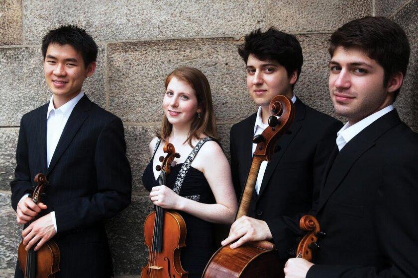Omer Quartet from left: Mason Yu, violin; Erica Tursi, violin; Alex Cox, cello and Joseph LoCicero, viola