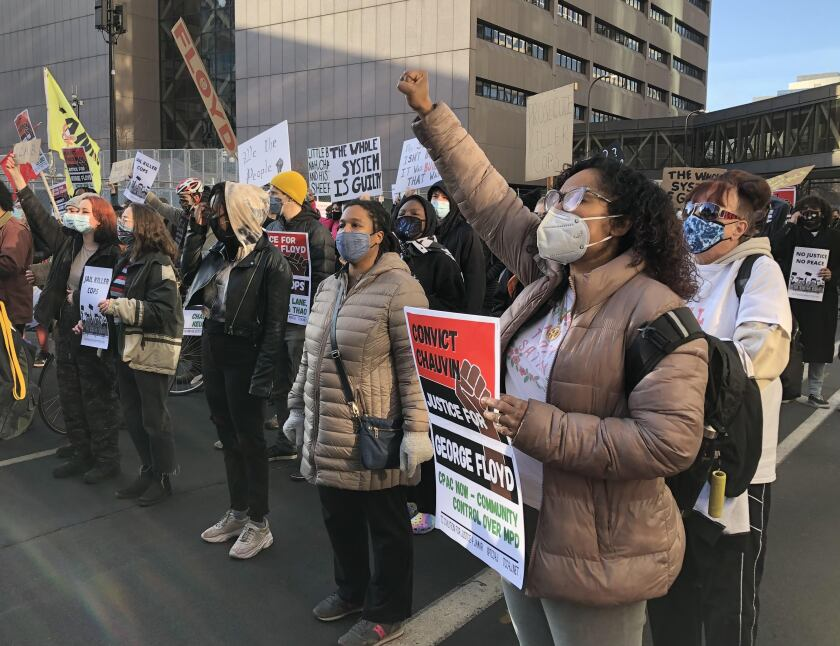 Protesters outside a Minneapolis courthouse