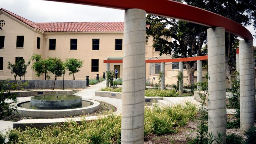 A view of the garden in the newly refurbished supportive housing at the VA campus in Los Angeles on June 8, 2015.