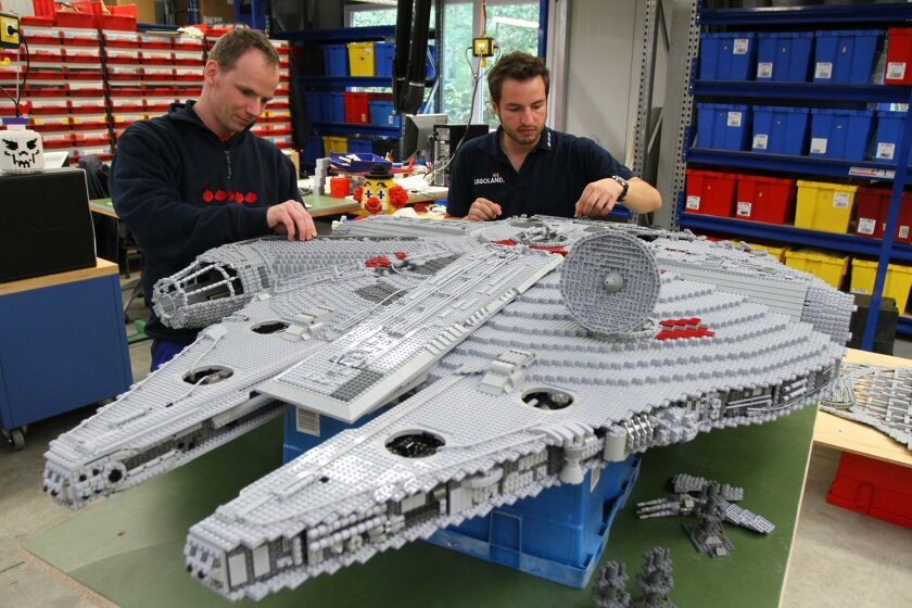 Master Model Builders from Legoland Germany build the prototype of a Lego Millenium Falcon for the new Miniland Star Wars area.