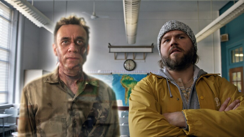 """Guest star Fred Armisen, right, plays a ghostly janitor and Tyler Labine the medium who comes to help him in a second-season episode of Hulu's """"Deadbeat."""""""