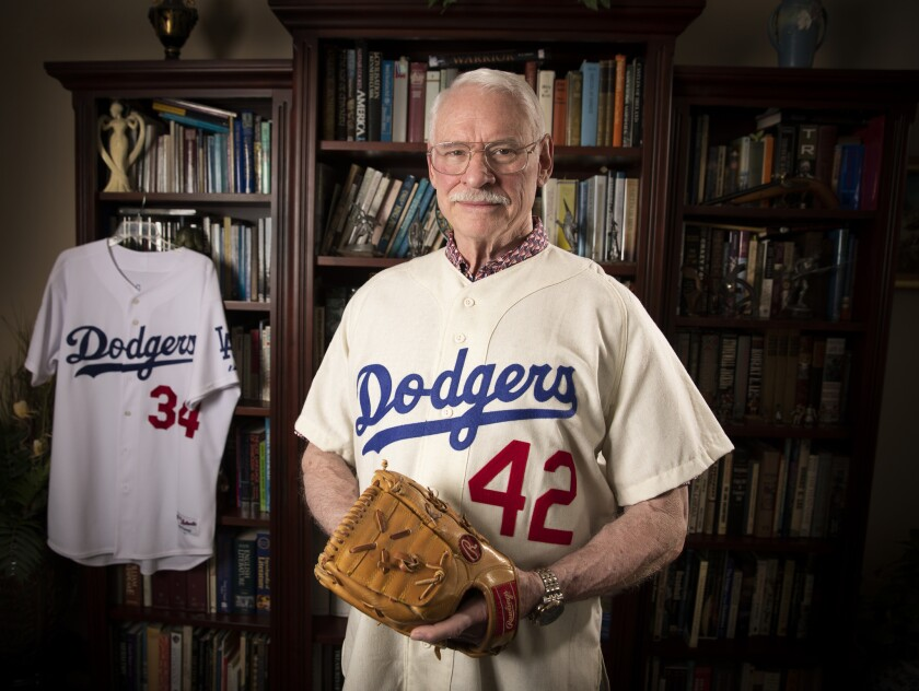 Former Dodgers pitcher Ray Lamb dons the No. 42 jersey accidentally issued to him in August 1969.