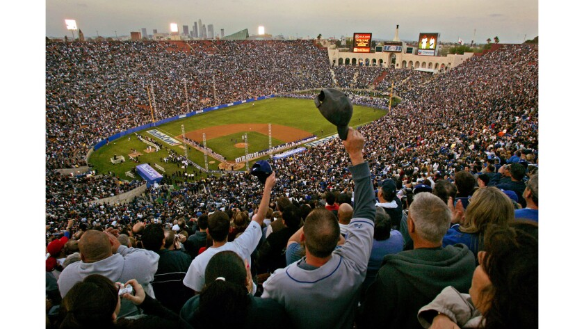 March 29, 2008: Fans crowd Memorial Coliseum for an exhibition game between the Dodgers and the Bost