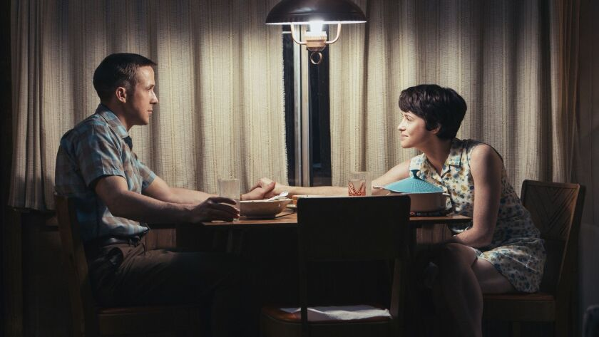 """RYAN GOSLING as Neil Armstrong and CLAIRE FOY as Janet Armstrong in """"First Man"""" movie. On the heels"""