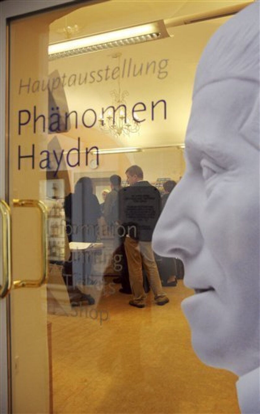A profile picture depicting composer Joseph Haydn is fixed to a door for an exhibition honouring Haydn in Eisenstadt, Austria, on Sunday, May 31, 2009. Composer Haydn was born March 31, 1732 near Vienna, Austria, and died in Vienna on May 31, 1809. Austria has been officially marking Haydn's 200th
