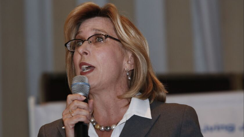 BEVERLY HILLS, CA. - MAY 15, 2014: Wendy Greuel (D) speaks during a candidates forum for all 16 seek
