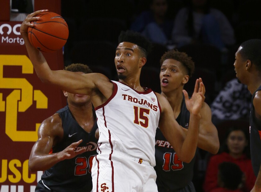 USC forward Isaiah Mobley tries to work the ball inside against Pepperdine.