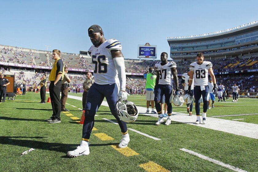 Donald Butler walks off the field after a 2015 loss to the Minnesota Vikings.