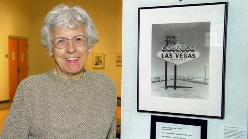 "Betty Willis, designer of the ""Welcome to Fabulous Las Vegas"" sign, poses with a Las Vegas News Bure"
