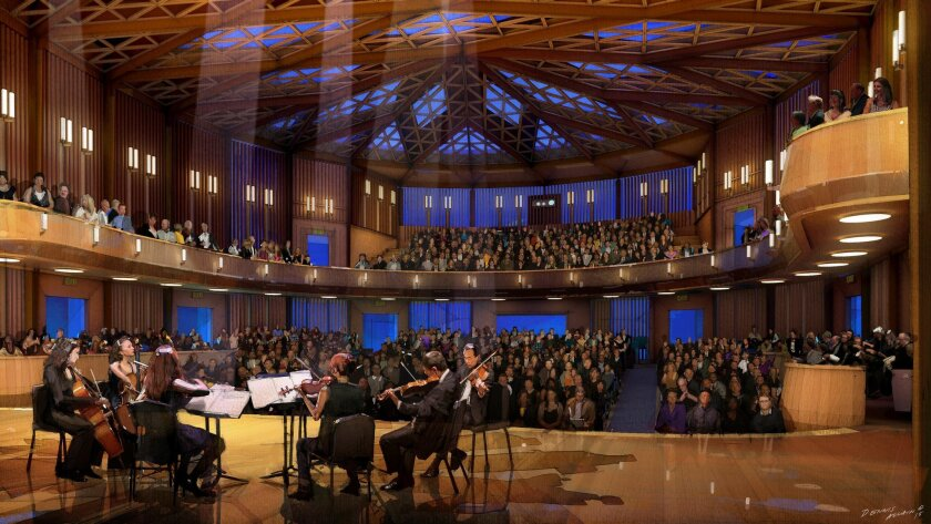 Interior rendering of the planned 500-seat Baker-Baum Concert Hall at Conrad Prebys Performing Arts Center, tentatively scheduled to open in January 2018.