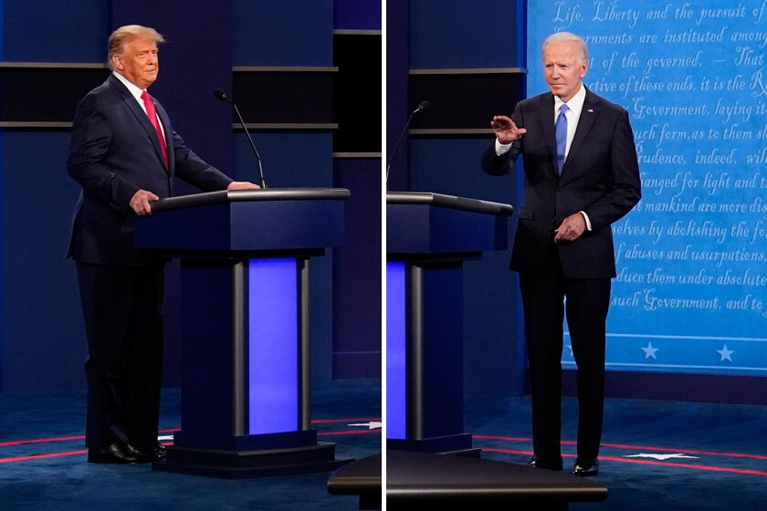 Diptych shows President Trump and Joe Biden standing near their lecterns on the debate stage