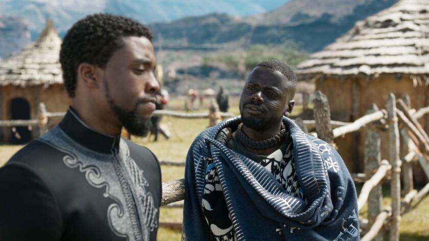 Marvel Studios' BLACK PANTHER L to R: T'Challs/Black Panther (Chadwick Boseman) and W'Kabi (Daniel
