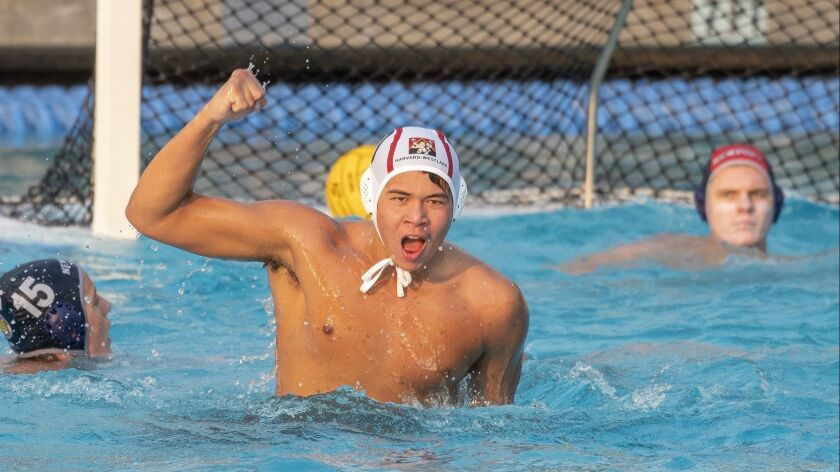 Harvard-Westlake's Ethan Shipman celebrates a goal in the second half as Newport Harbor's Blake Jack
