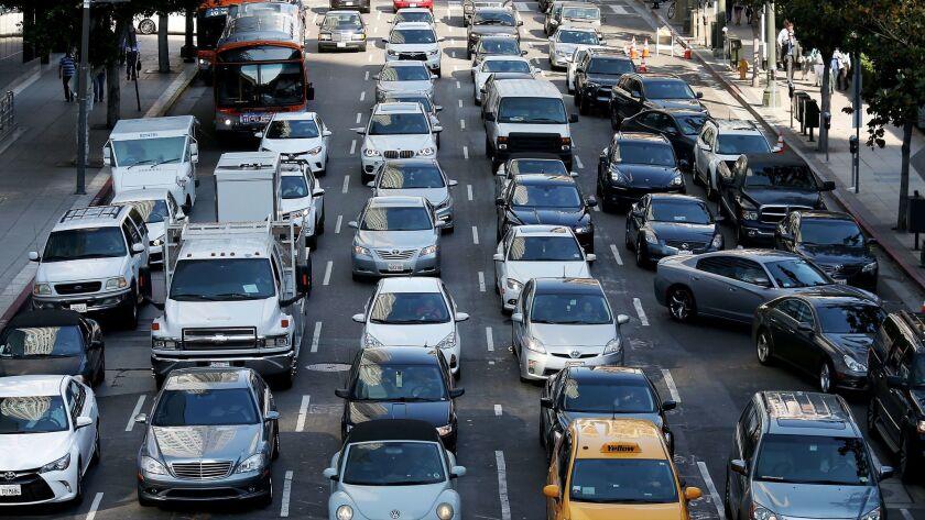 LOS ANGELES, CALIF. - JUNE 29, 2016. Motor traffic backs up along 5th Streeet in downtown Los Angel