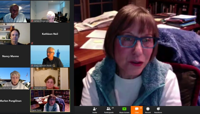 Newly elected La Jolla Community Planning Association president Diane Kane addresses her trustees April 3, 2020 via the Zoom app from her La Jolla home.