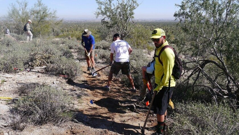 Volunteers on the trail in the Del Mar Mesa.