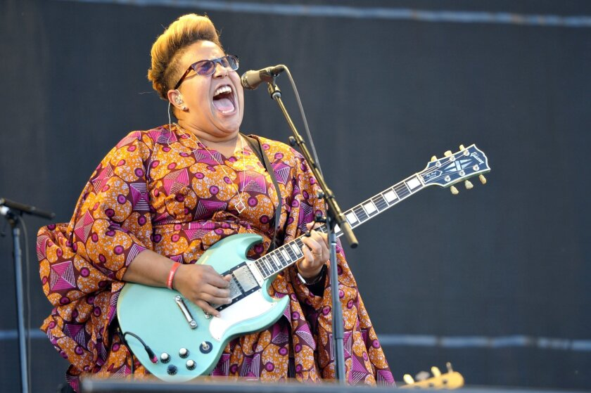 """FILE - In this July 31, 2015 file photo, Brittany Howard of Alabama Shakes performs at Lollapalooza in Chicago. Alabama Shakes released their second album, """"Sound & Color,"""" in April. (Photo by Rob Grabowski/Invision/AP, File)"""