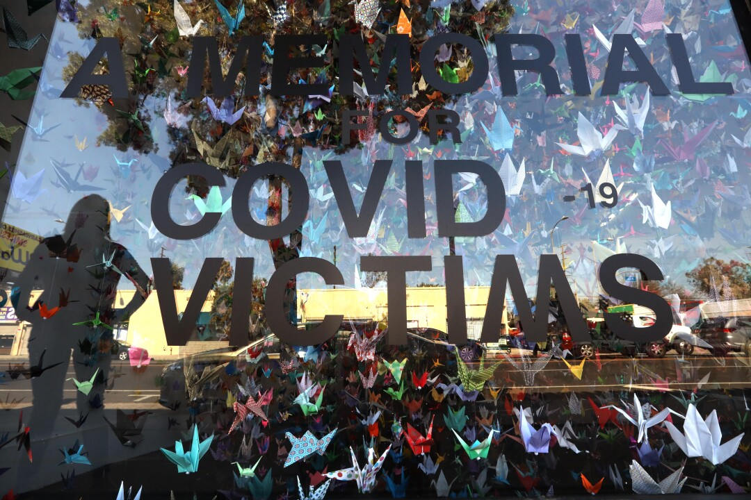 A memorial for COVID-19 victims is seen at a Los Angeles art studio.