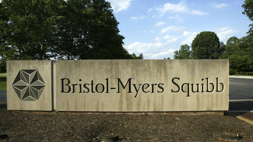 FILE - In this June 15, 2005, file photo, a sign stands in front of a Bristol-Myers Squibb building