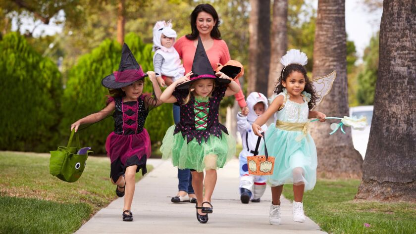 Any other year, you'd expect to see groups of children like this walking around on Halloween.