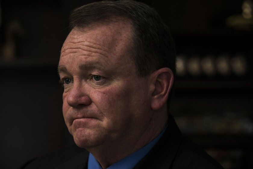 Los Angeles County Sheriff Jim McDonnell in his office.