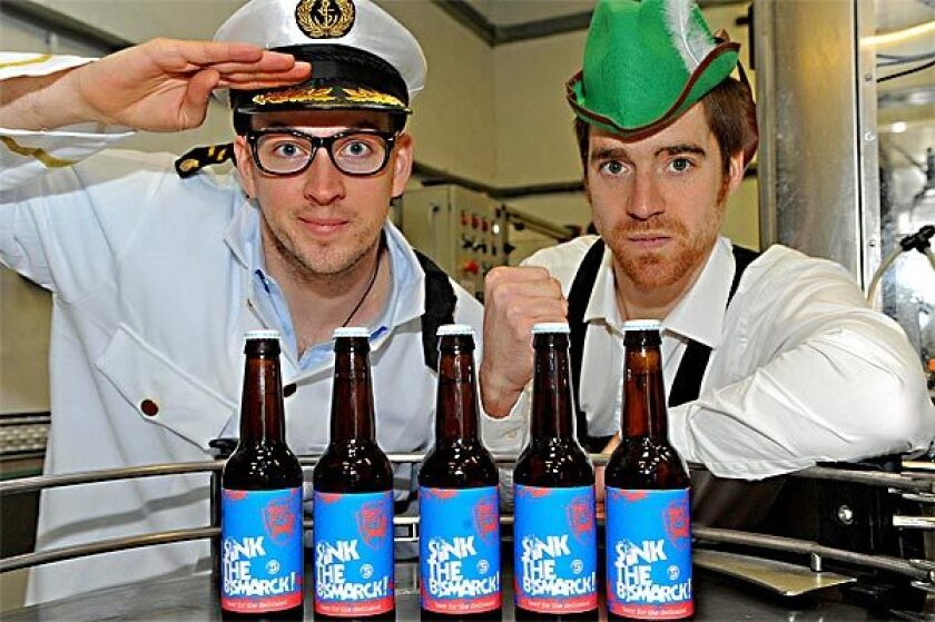 Brew Dog's James Watt, left, and Martin Dickie with 'Sink the Bismarck' beer, rated at 41% alcoholic content.