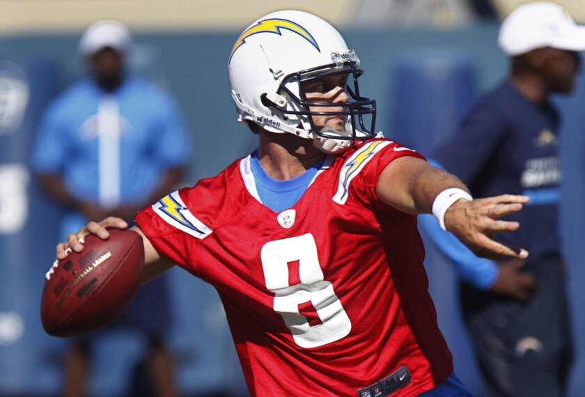 Chargers QB Kyle Boller works out during training camp in San Diego, California.