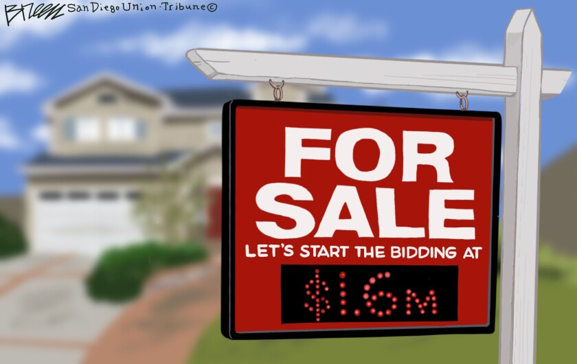 A for sale sign starts the bidding on a house in this cartoon