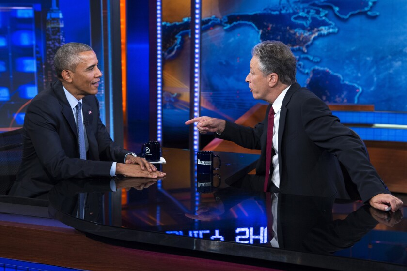 "President Obama talks with Jon Stewart, host of ""The Daily Show,"" during a taping on July 21 in New York."